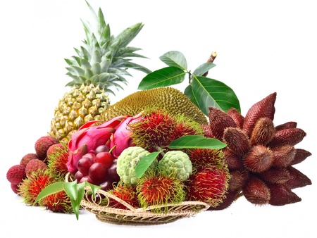 Assortment of exotic fruits isolated on white background photo