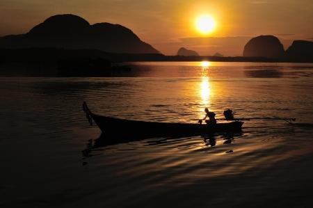 phang nga: Sunset in Phang Nga ,Thailand Stock Photo