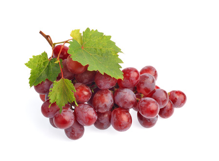 Red grape with leaf isolated on white background Stock Photo