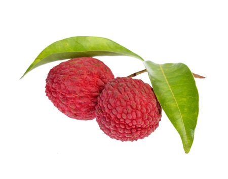litschi: Fresh lychees with leaves isolated on white background