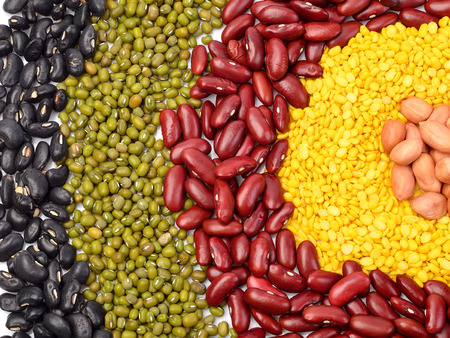 mixed vegetables: Mixture of beans, peas background