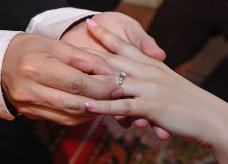 ring up: engagement ring, bride and groom hands close up ring