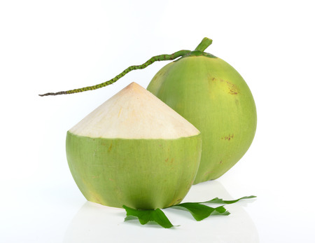 Green coconut isolated on white background Archivio Fotografico