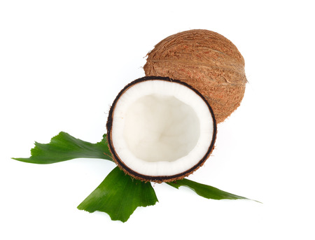 Coconuts with leaves on a white background photo