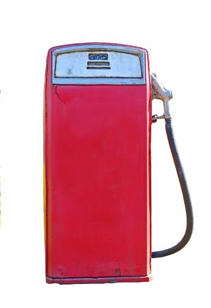 surtidor de gasolina: surtidor de gasolina en una estación de gas aisladas sobre fondo blanco Foto de archivo