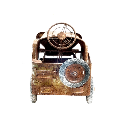 old toy car isolated on white background photo