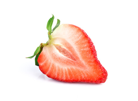 cut fruit: Fresh strawberries isolated on a white background