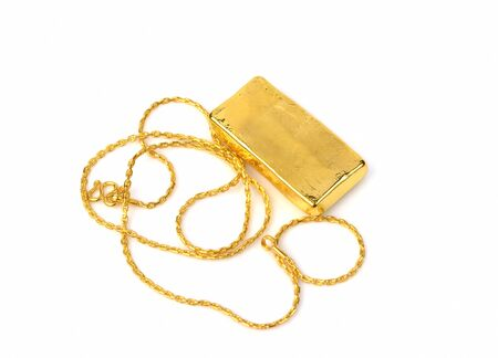jewelry chain: gold chain and gold bar on a white background