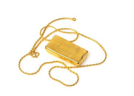 gold chain: gold chain and gold bar on a white background
