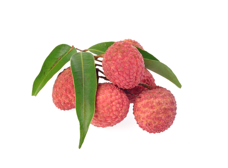 Fresh lychees with leaves isolated on white background