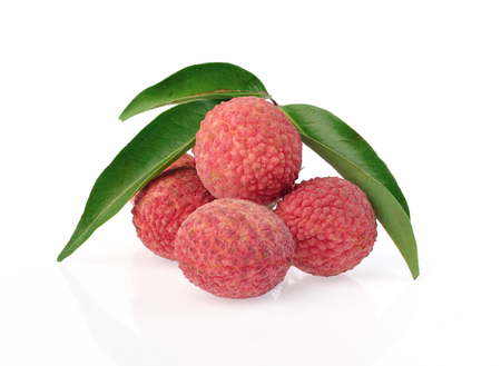 leechee: Fresh lychees with leaves isolated on white background