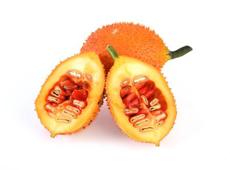 Gac fruit slices isolated on white background