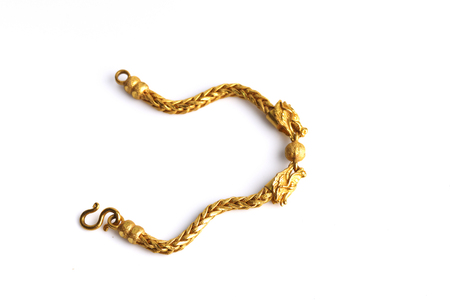 gold chain on a white background Stock Photo