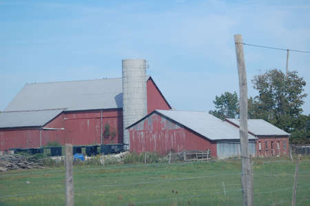 Red barn in ohio farmland photo