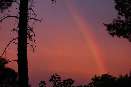 rainbow in sunrise photo
