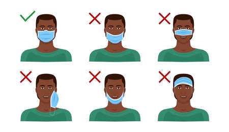 Instructions on how to wear a medical mask correctly. Visual explanation with a black man. Vector Illustratie