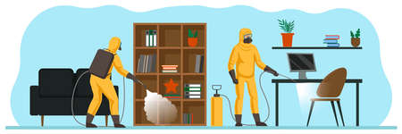 Sanitization of the office for the safety of employees during the coronavirus pandemic. Workers in special suits and respirators disinfect the surfaces and furniture. New normal after covid.