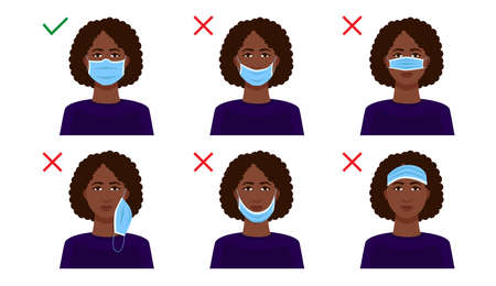 Explanation of how to wear a medical mask on your face correctly. Rules for protection during a coronavirus pandemic.