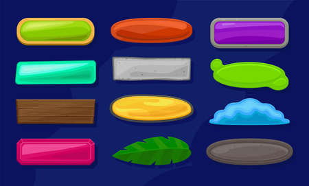 A set of cartoon long horizontal buttons of various shapes, textures and colors. Gui assets collection for game design. Vector elements for app.