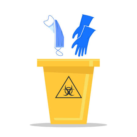 Yellow biohazard trash can. How to properly dispose of used medical masks and gloves.