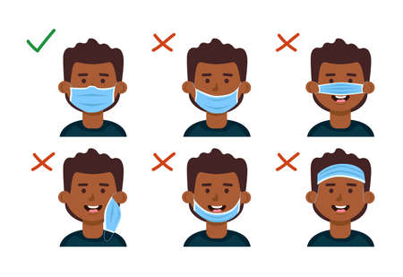 How to use a face mask correctly. Explanation with the boy. Vector cartoon illustration.