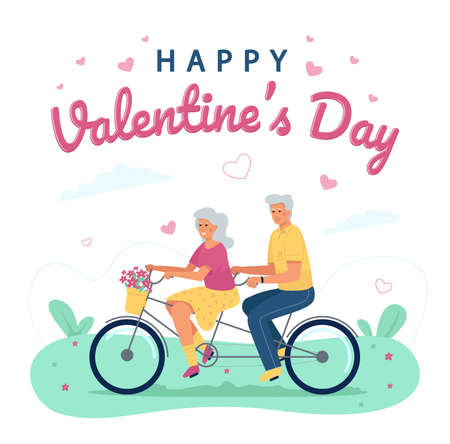 An elderly man and a woman ride a bicycle in tandem. Congratulations on Valentine's Day to seniors in love. Design of a postcard, print or banner for February 14.