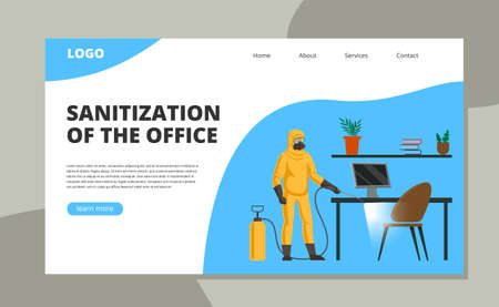 An employee in a protective suit and a respirator sprayed with disinfectant surfaces in the office. Concept and landing page on the topic of sanitization for business.