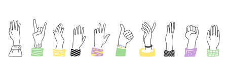 Raised hands up with various gestures.