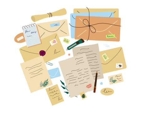 Paper letters, craft different envelopes, stationery, postage stamps. Vector set. Vektorové ilustrace