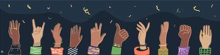 The raised hands of the multi-ethnic crowd, the symbol of the festival, the holiday.