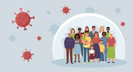A group of diverse people in a bubble. The concept of collective immunity from coronavirus, controlling the spread of the epidemic.