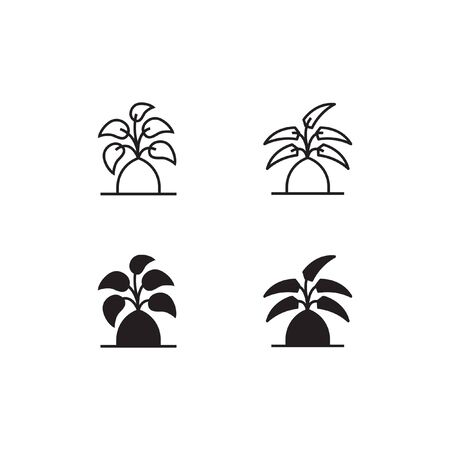 Tree Line and Solid Icon  Vector Symbol