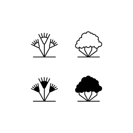 Tree Line and Solid Icon Logo Vector Symbol