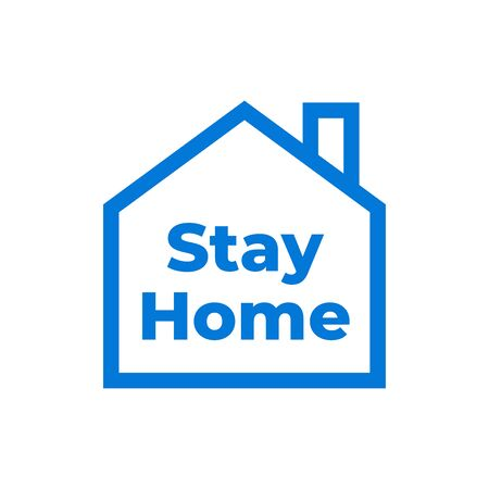 Stay at home in simple house and under roof. Covid 19 or Coronavirus protection campaign icon. Symbol or symbol vector illustration Illustration