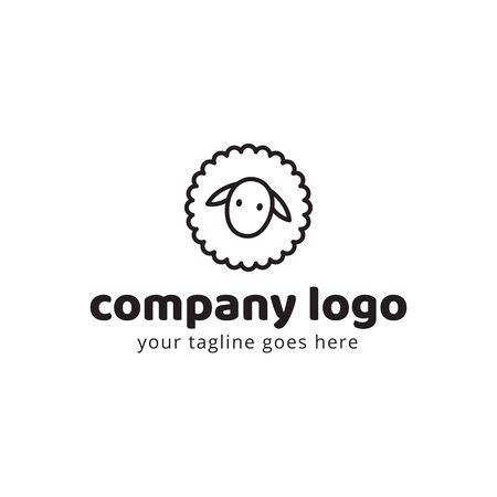 Sheep cute animal logo template. Usable for fashion, farm, livestock, restaurant, wool company. Vector Illustration Illustration