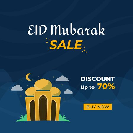 Happy eid mubarak islamic festival sale banner with beautiful mosque and blue background. Vector illustration.