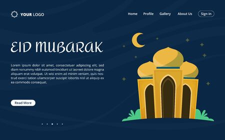 Happy eid mubarak islamic festival landing page with beautiful mosque and blue background. Vector illustration. Illustration