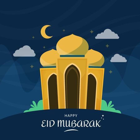 Happy eid mubarak islamic festival square card celebration with beautiful mosque and blue background. Vector illustration. Illustration