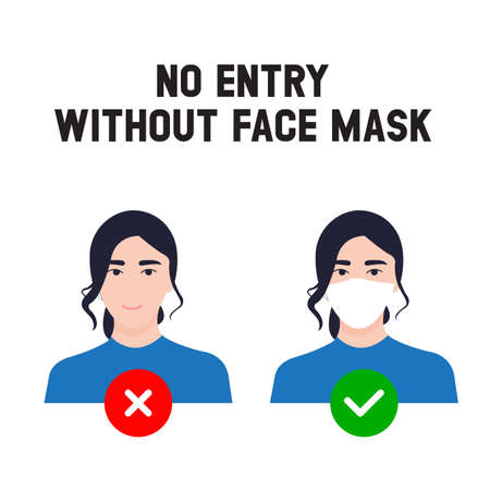 No entry without face mask. Business woman vector illustration of forbidden entry if not wearing a face mask and keep distancing in covid 19 pandemic.