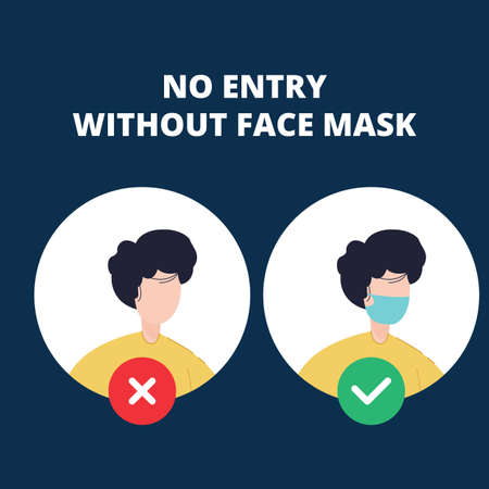 No entry without face mask. Vector illustration of forbidden entry if not wearing a face mask and keep distancing in covid 19 pandemic.