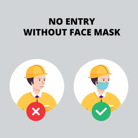 No entry without face mask. Man worker vector illustration of forbidden entry if not wearing a face mask and keep distancing in covid 19 pandemic.