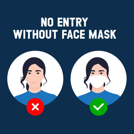 No entry without face mask. Business woman vector illustration of forbidden entry if not wearing a face mask and keep distancing in covid 19 pandemic. Vektorgrafik