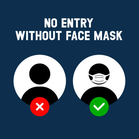 No entry without face mask. Business woman vector illustration of forbidden entry if not wearing a face mask and keep distancing in covid 19 pandemic. Icon