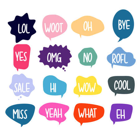 Bubble chat with phrases. Colorful speech bubbles with dialog words. Chat cloud online used for sticker, flyer, poster information. Vector illustration Illustration