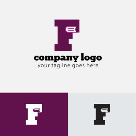 F Letter and Book Shape Concept Logo Design Template vector icon design .Simple logo for your business company. Ilustração