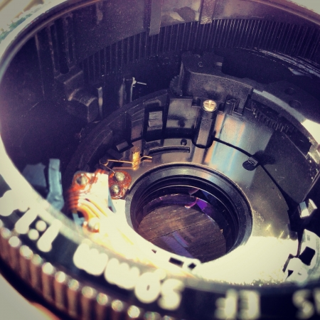 f 18: Inside the 50 mm. F 1.8 Fix lens Stock Photo