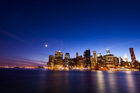 Manhattan night landscape from Brooklyn side photo