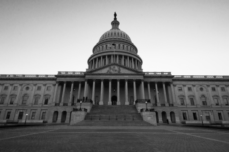 US Capitol building in black and white photo