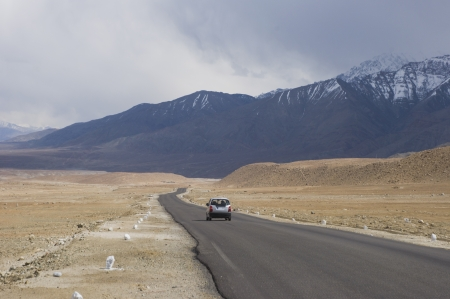 a road among mountains to Nubra valley, Leh, India photo