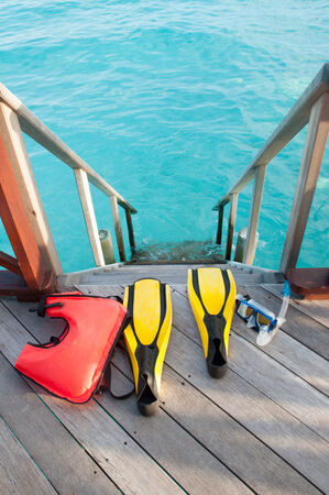 lifevest: the equipments for snorkeling, mask fin and lifebuoy Stock Photo
